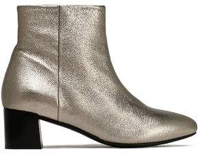 Claudie Pierlot Metallic Textured-Leather Ankle Boots