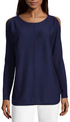 Liz Claiborne Long Sleeve Cold Shoulder Pullover Sweater