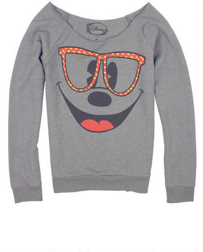 Delia's Mickey Mouse Dot Glasses Sweatshirt