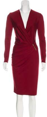Salvatore Ferragamo Wool Ruched Dress