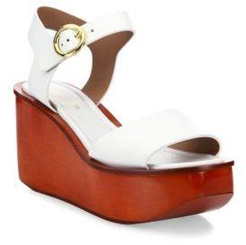 Michael Kors Collection Bridgette Leather Ankle-Strap Wedge Platform Sandals $450 thestylecure.com
