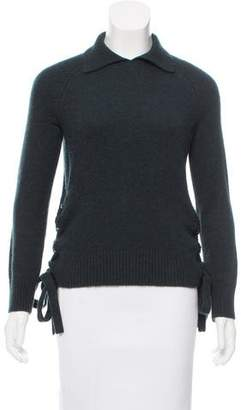 Frame Lace-Up Cashmere Sweater