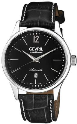 Gevril Men's Five Points Swiss Automatic Alligator Embossed Leather Strap Watch, 43mm