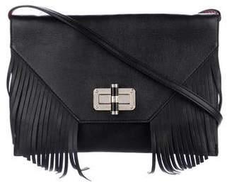 Diane von Furstenberg Leather Fringe-Trimmed Flap Shoulder Bag
