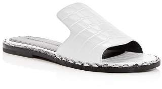 Sigerson Morrison Women's Estee Croc-Embossed Leather Slide Sandals