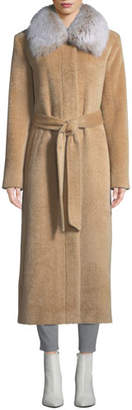 Sofia Cashmere Long Fur-Collar Belted Coat