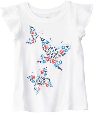 Nautica Girls' White Butterfly T-Shirt