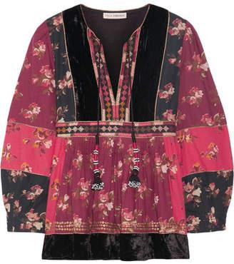 Ulla Johnson Bijana Velvet-trimmed Embroidered Printed Cotton-blend Blouse - US4