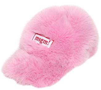 MSGM Logo Patch Faux Fur Hat