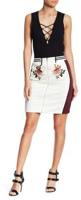 Endless Rose Floral Embroidered Reversible Midi Skirt