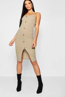 boohoo Horn Button Rib Knit Midi Dress