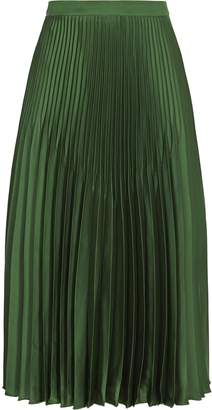 Reiss Isidora - Knife Pleat Skirt in Dark Green