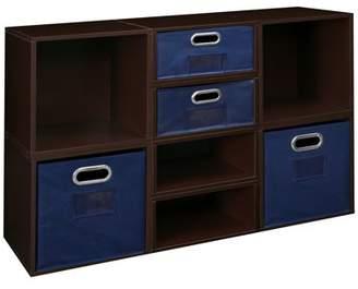 Cubo Niche Storage Set- 4 Full Cubes/4 Half Cubes with Foldable Storage Bins- Truffle/Blue