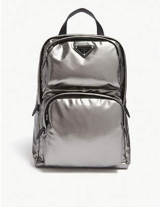Prada Metallic Silver Leather Technical Backpack
