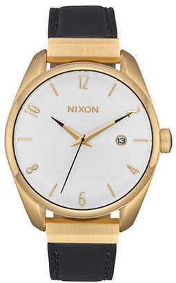 Nixon Bullet Leather Luxe Goldtone Analog Watch