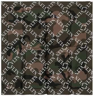Valentino Logo Camouflage Silk Scarf