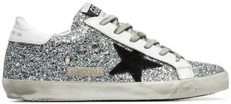 Golden Goose silver Superstar glitter embellished leather lop top sneakers