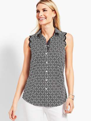 Talbots The Perfect Scallop Shirt - Geo-Diamond Print