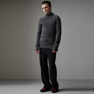 Burberry Rib Knit Wool Cashmere Turtleneck Sweater