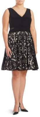 Xscape Evenings Plus Mesh-Accented Fit-and-Flare Dress