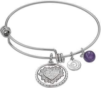 Love This Life love this life Silver Plated Amethyst Heart Charm Bangle Bracelet