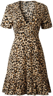 Goodnight Macaroon 'Healani' Leopard Print V-Neck Mini Dress (4 Colors)