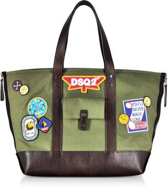 DSQUARED2 Military Green Canvas Tote w/Patches