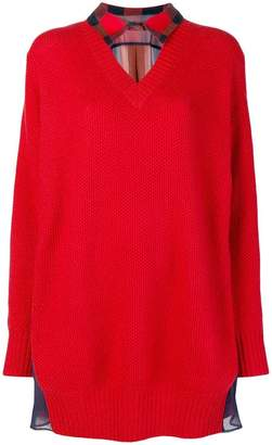 Sacai collar-detail sweater dress