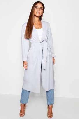 boohoo Petite Ruched Waterfall Duster Jacket