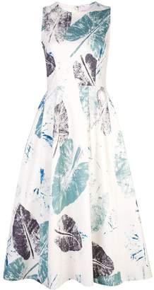 Carolina Herrera leaf print flared dress