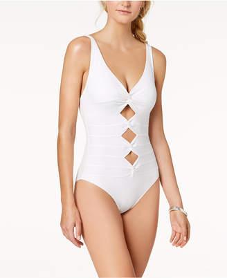 Carmen Marc Valvo Twist-Front Cutout Underwire One-Piece Swimsuit Women's Swimsuit