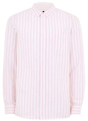 Topman Mens Pink And White Stripe Classic Shirt