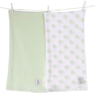 "Little Giraffe Muslin Swaddle Blanket Set - New Dot / Solid, 44"" x 44"" - Celadon"