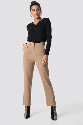 NA-KD High Waist Flared Suit Pants Beige