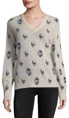 360 Cashmere V-Neck Skull Print Sweater