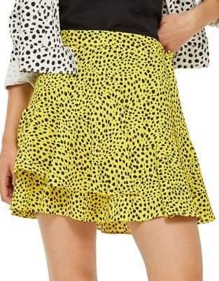 Topshop Animal-Print Ruffle Mini Skirt