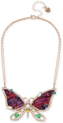 "Betsey Johnson Rose Gold-Tone Crystal & Stone Butterfly Pendant Necklace, 15"" + 3"" extender"
