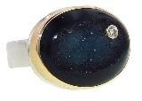 Jamie Joseph Oval Black Druzy Ring with Diamonds
