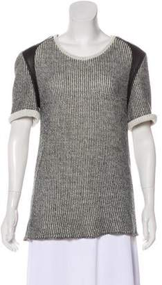 IRO Leather-Trimmed Short Sleeve Sweater