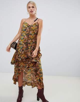 Vila floral printed faux wrap dress