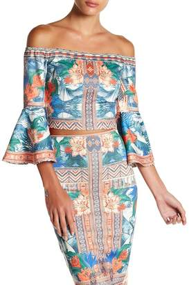 Flying Tomato Off-the-Shoulder Print Blouse
