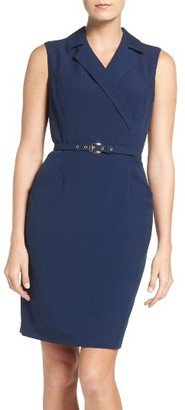 Women's Ellen Tracy Belted Bi-Stretch Sheath $118 thestylecure.com