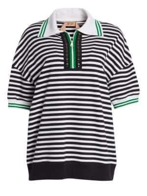 No.21 No. 21 Studded Striped Zip Polo Shirt