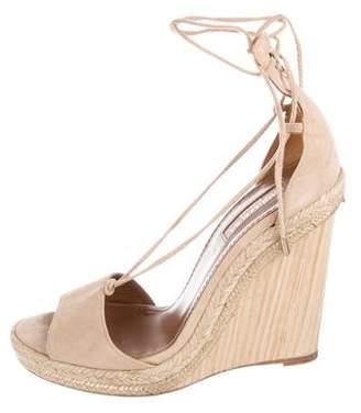 Aquazzura Suede Wrap-Around Wedge Sandals