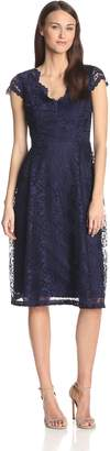 London Times Women's Scallop Vneck Lace Full Skirt Dress