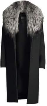 Cinzia Rocca Women's Silver Fox Collar Wool Coat - Black - Size 2