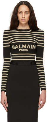 Balmain Black and Gold Striped Logo Bodysuit