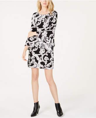 INC International Concepts I.n.c. Bell-Sleeve Printed Sheath Dress