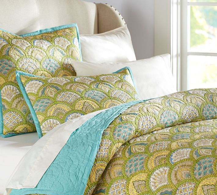Pottery Barn Marcy Scallop Wholecloth Quilt & Sham