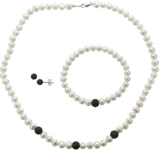 JCPenney FINE JEWELRY Cultured Freshwater Pearl & Black Crystal 3-pc. Jewelry Set